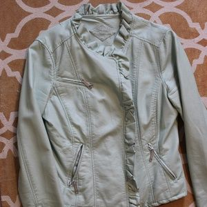 Pastel Green Faux-leather motorcycle jacket